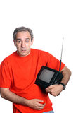 Toevallig mensenportret met een Televisie stock afbeelding