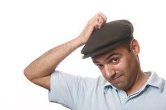 Toevallig mensenportret met hoed royalty-vrije stock afbeelding