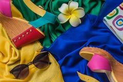 Toevallige de zomerreeks toebehoren van vrouwen Stock Foto's