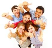 Toevallige groep gelukkige mensen Stock Foto