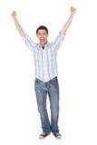 Toevallige mens die voor vreugde schreeuwt Stock Foto's