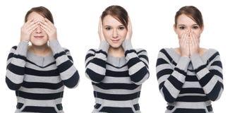 Toevallige vrouw - geen kwaad Stock Foto