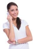 Toevallige vrouw op telefoon Royalty-vrije Stock Fotografie