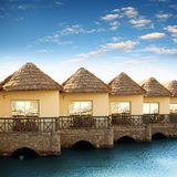 Toevlucht met mooie bungalowwen Royalty-vrije Stock Afbeelding