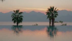Toevluchtscène bij zonsondergang Zwembad met palmen, overzees en bergen stock video