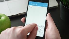Toevoegend nieuwe taak aan aan-maken een lijst van app stock videobeelden