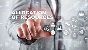 Toewijzing van middelenconcept Strategische planning Gemengde media Abstracte bedrijfsachtergrond Financi?le technologie en vector illustratie