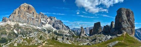 Tofana di Rozes and Cinque Torri, Dolomites. Beautiful view of the Tofana di Rozes and Cinque Torri, Italy stock image