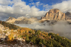 Tofana di Rozes and Laguzoi - autumn in Passo Falzarego Stock Images