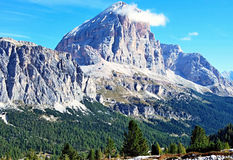 Tofana di Rozes mountain peak in Dolomites Stock Photos