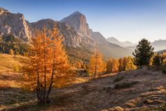 Tofana di Rozes mountain ridge. Region Trentino Alto Adige, South Tyrol, Veneto, Italy. Dolomite Alps royalty free stock image