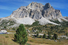Tofane massif from Passo Falzarego Stock Photo