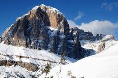 Tofane mountain group, Tofana di Mezzo, Tofana di Dentro, Tofana di Rozes, Dolomites, Cortina d`Ampezzo, Italy Royalty Free Stock Images