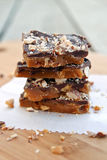 Toffee. Stack of toffee with nuts Royalty Free Stock Photos