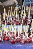 Toffee Apples on Sale at Stall Stock Image