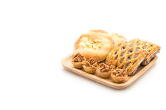 toffee cake,bread with corn mayonaise and taro pies Royalty Free Stock Photo