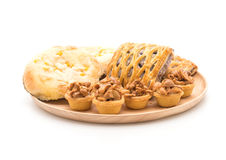 toffee cake,bread with corn mayonaise and taro pies Royalty Free Stock Photos