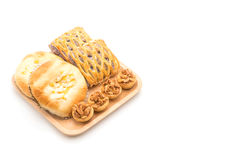 toffee cake,bread with corn mayonaise and taro pies Stock Photo