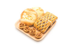 toffee cake,bread with corn mayonaise and taro pies Royalty Free Stock Image