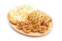 toffee cake,bread with corn mayonaise and taro pies Royalty Free Stock Images