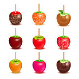 Toffee Candy Apples Assortment Set Stock Photo