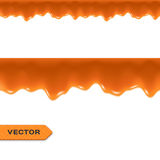 Toffee. Caramel Drips. Seamless Border. Vector Royalty Free Stock Photo