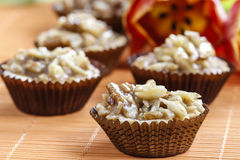 Toffee cupcakes with nuts Royalty Free Stock Photo