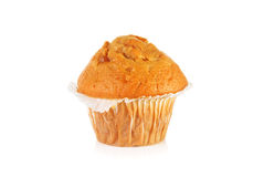 Toffee fudge muffin. Over white background Stock Photos