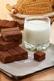 Toffee and a glass of milk on a linen napkin. Stock Images