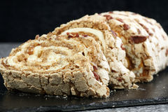 Toffee and pecan roulade Royalty Free Stock Photos
