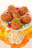 Toffee and puffed rice eggs Royalty Free Stock Photography