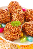 Toffee and puffed rice eggs Royalty Free Stock Photos
