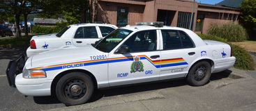 Tofino RCMP police car. TOFINO BC CANADA JUNE 17 2015: Tofino RCMP police car.Royal Canadian Mounted Police known as the Mounties, and internally as 'the Force royalty free stock image