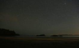 Tofino strand på natten Arkivbild