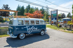 Tofino Volkswagen Microbus. Tofino, Vancouver Island, BC August 13 2015 - VW Microbus used by Tourism Tofino for advertising stock photography