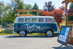 Tofino Volkswagen Microbus. Tofino, Vancouver Island, BC August 13 2015 - VW Microbus used by Tourism Tofino for advertising & showing tourists around town royalty free stock photos