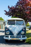 Tofino Volkswagen Microbus. Tofino, Vancouver Island, BC August 13 2015 - VW Microbus used by Tourism Tofino for advertising & showing tourists around town royalty free stock photo
