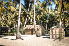 在棕榈树之间的非洲村庄在Tofo 免版税图库摄影