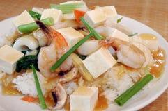 Tofu über Reis Lizenzfreies Stockbild
