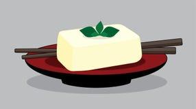 Tofu αυγών στο κόκκινο πιάτο, στάρπη φασολιών Ιαπωνία διανυσματική απεικόνιση