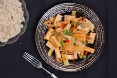 Tofu avec le poivre et les coulis Photographie stock libre de droits