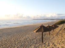 Tofu beach umbrellas. Beach scene in Tofu, Mozambique Stock Photography