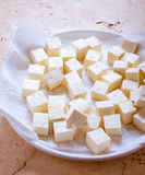 Tofu Bean Curd. Asian tofu cubes or soybean curd drying on a paper towel before cooking Royalty Free Stock Image