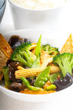 Tofu beancurd and vegetables. Fresh and healthy tofu,beancurd with mix vegetables typical chinese dish Royalty Free Stock Photo
