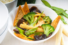Tofu beancurd and vegetables. Fresh and healthy tofu,beancurd with mix vegetables typical chinese dish Stock Photo
