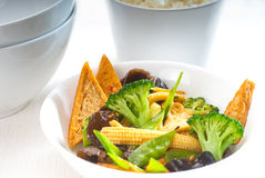 Tofu beancurd and vegetables. Fresh and healthy tofu,beancurd with mix vegetables typical chinese dish Royalty Free Stock Photography