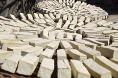 Tofu. Blocks of fresh made tofu Stock Photo