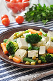 Tofu with  boiled vegetables Royalty Free Stock Photography