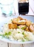 Tofu and cauliflower puree Royalty Free Stock Photography