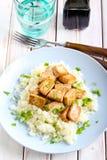 Tofu and cauliflower Royalty Free Stock Images